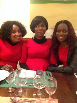 3 Ladies in red