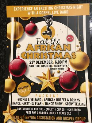"Feel The African Christmas Flyer ""Experience an exciting Christmas night with a Gospel Live Band"""