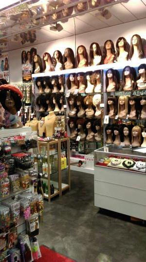 In The Shop wigs display