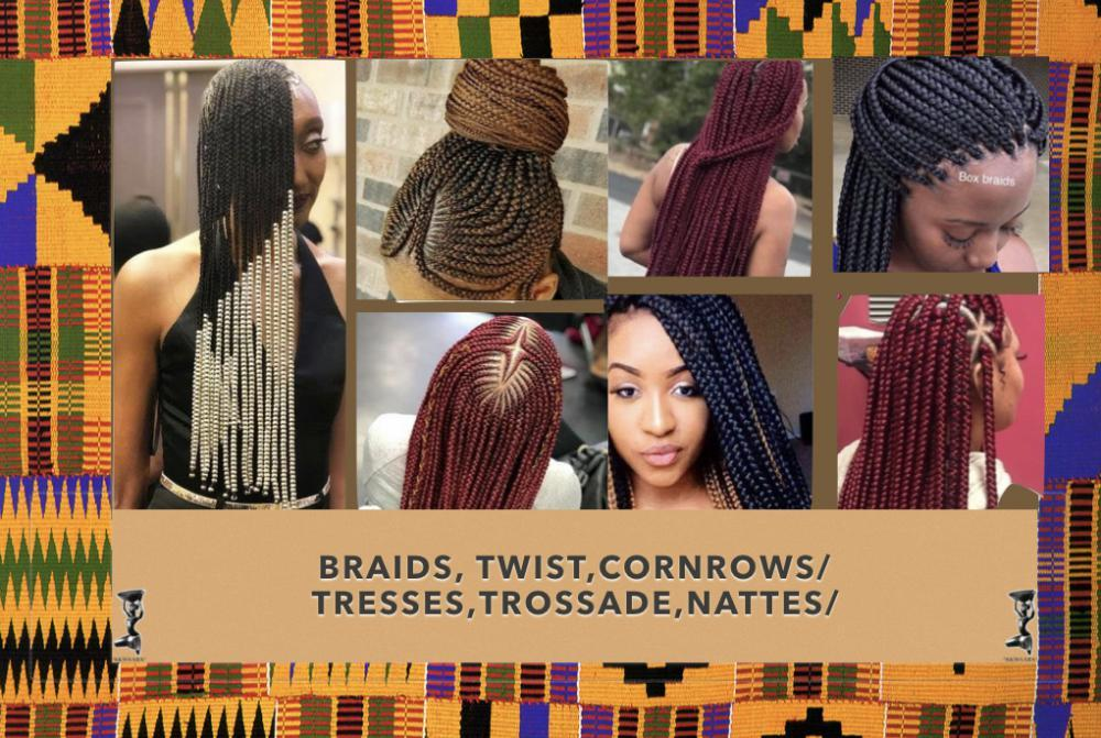 Several different braiding styles from cornrows to simple braids