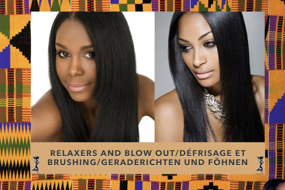 Two ladies with blown out or relaxed hair