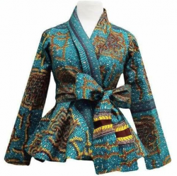 Turquoise, brown & yellow African print jacket